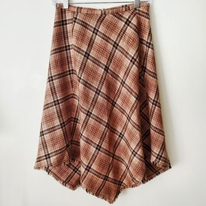 SIDE REAL Wool Asymmetric Skirt Plaid Brown Size 8